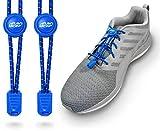 Rush Lace - Elastische Schnürsenkel mit Schnellverschluss aus Gummi - für Erwachsene, Kinder, Senioren geeignet, Sport, Triathlon, ohne Schuhe binden! (Blau, 1 Paar)