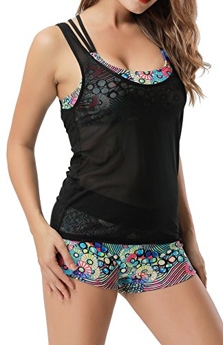 Leslady Separable Badeanzüge Tankini mit 3-Teilig Sporty Neckholder Bikini Set Punkt