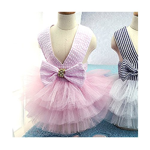 ng Sommerkleid Kleider Mode schöne Sommer süßer Welpe Hund Haustier Kleid Hunde Prinzessin Haustier Mantel Kleid Kostüm 2#: Brust ca. 15,6 Zoll zurück 12,1 Zoll Rosa ()