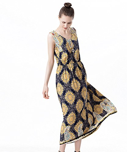 NiSeng Donna V-Collo Senza Maniche Vestito Casual Stampe Maxi Vestito Partito Abiti Lunghi Giallo