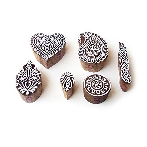 Royal Kraft Herz und Paisley Indisch Muster Hölzern Blöcke Stempel (Set von 6) (Herzen Set Stempel)