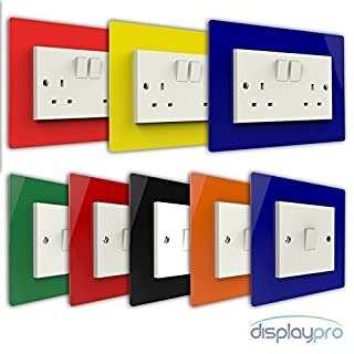 Displaypro Single, Double Light Switch Surround Acrylic Finger Plate Panel Plug Socket (Black - Double)