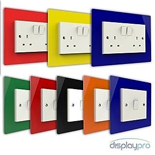 Displaypro Single, Double Light Switch Surround Acrylic Finger Plate Panel Plug Socket (Black - Single)