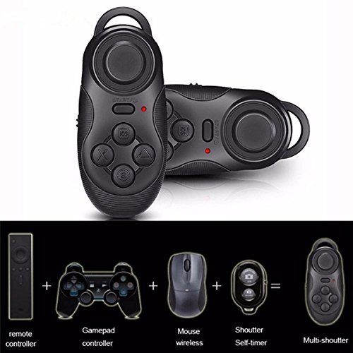 ELEGIANT Mini drahtlose Bluetooth Gamepad Fernbedinung Fernsteuerpult Steuerung Remote Controller Android Handy Fernbedienung für 3D VR Brille Google Karton Beamer Selfie Kamera Shutter Wireless Maus Musik Player Ebook Tablet PC TV