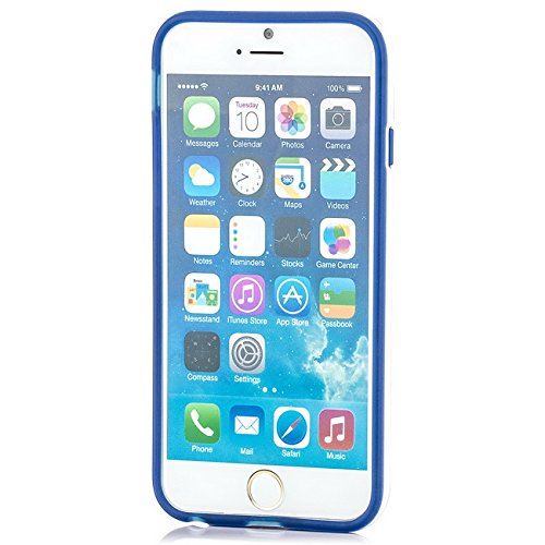 Saxonia iPhone 6 / 6S Hülle Case Ultra Slim Cover Silikon Schutzhülle Handy Backcover Bumper Blau Blau