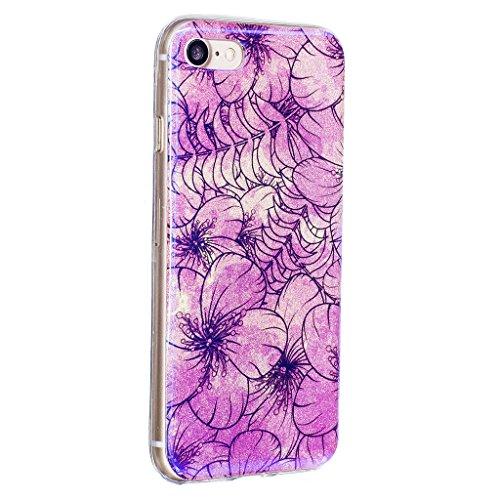 Für iPhone 7 Hülle,iPhone 7 (4,7 Zoll) Silikon Hülle,Mo-Beauty® Klare Ultradünne Silikon Gel Schutzhülle Durchsichtig,Bunte Blumen Malerei Painted Muster Transparent TPU Sillikon Weich Ultra Thin Hand A