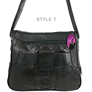 Hey Hey Handbags - Real Leather Handbag - Different Styles to Choose From, Colour: Style 1 - Black