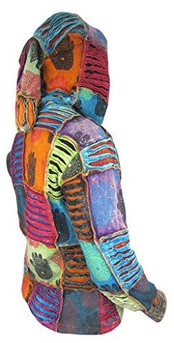 Little Kathamandu Herren Kapuzenjacke, Baumwolle, mit Handabdruck und dekorativen Einschnitten, Kapuze spitz zulaufend Fleece lined (Winter)