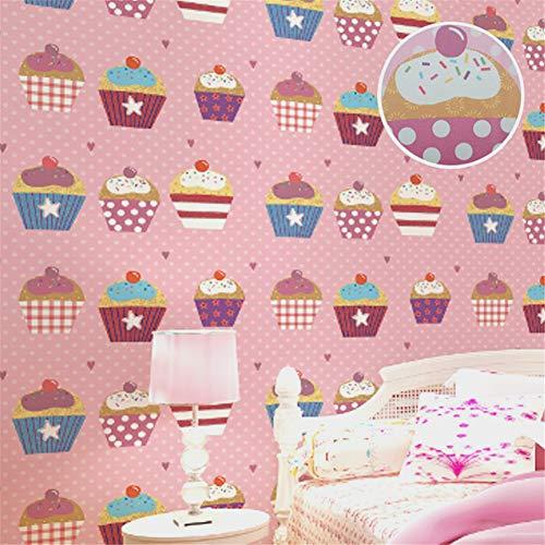 KAJHGP DIY Kuchen rosa Mädchen Kinderzimmer Tapete Zucker Dessert Shop Restaurant Tapete Größe: 390 x 20,67 Zoll (Restaurant Zucker)