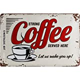 Nostalgic-Art 22249 USA - Strong Coffee Served Here, Blechschild 20x30 cm