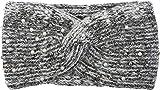 styleBREAKER Damen Strick Stirnband mit Perlen, Metallic Garn und Knoten, Haarband, Headband 04026029, Farbe:Weiß-Schwarz
