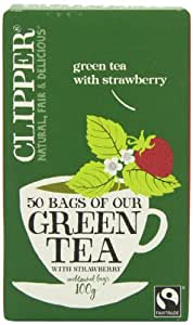 Clipper Fairtrade Green with Strawberry 50 Teabags 100 g (Pack of 6)
