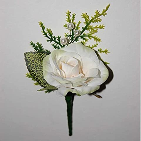 Pippa Personalised Custom Hand Made Boutonniere Buttonhole Corsage White Apricot Pale Green Rose White Pearl Beads Spray Rose leaf Wedding Flowers Groom Best Man Mother of the Bride