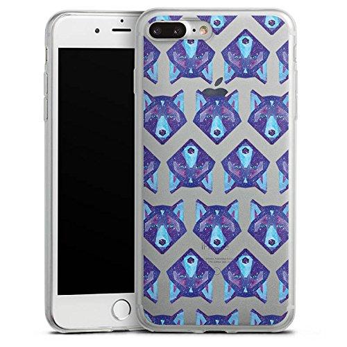 Apple iPhone 8 Slim Case Silikon Hülle Schutzhülle Design ohne Hintergrund Wolf Muster Silikon Slim Case transparent