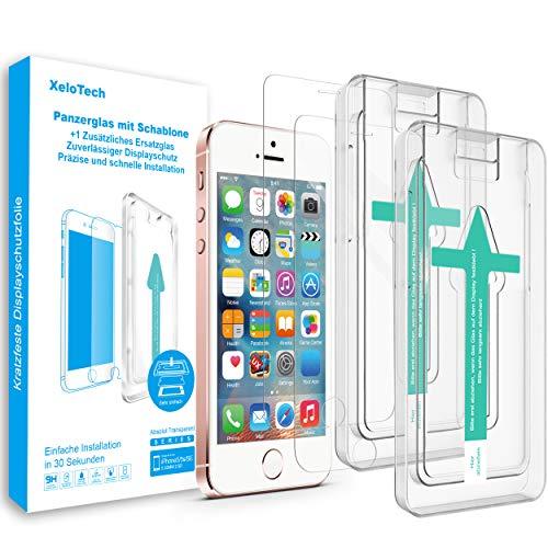 XeloTech Premium Schutzglas Folie (2 Stück) kompatibel mit iPhone SE und iPhone 5s 5 mit Schablone für hohe Passgenauigkeit - Kompatibel mit Hülle - Harte Schutzfolie