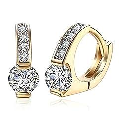Idea Regalo - KnSam Rotondo Forma Donna Speranza Orecchini Zircone a Diamante Rotonda Placcato Oro Di Champagne