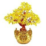 Homyl Feng Shui Árbol de Dinero Multicolor Resina + Piedra Cristal Decoración de Oficina Tabla - Amarillo