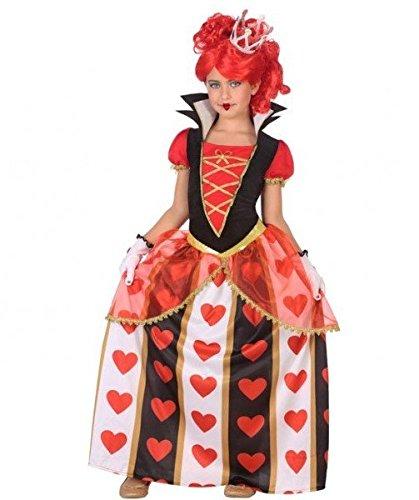ATOSA 56871 Königin der Herzen Kostüm für Mädchen Costume Queen of Hearts 5-6, Weiss/Schwarz/Rot, 5 a 6 años
