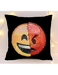 Smiley Cojín reversible lentejuelas Emoji Diseño almohada con emojis