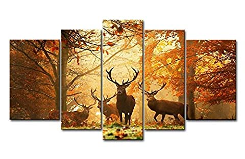 Brown 5 Panel Wall Art Picture Deer In Autumn Forest