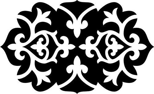 T-Shirt E1116 Schönes T-Shirt mit farbigem Brustaufdruck - Logo / Grafik / Design - abstraktes Ornament mit schönen Ranken und Blättern Schwarz