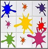 10 x Farbklecks Aufkleber in 's' ca. 10 cm aus Hochleistungsfolie, für Fliesen, Autos, Wände , und alle glatten Flächen, BD WC Sticker Fliesebaufkleber viele Farben zur Auswahl