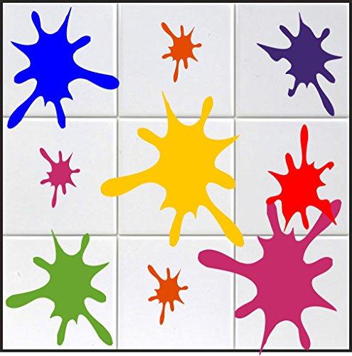 """Preisvergleich Produktbild 10 x Farbklecks Aufkleber in """"s"""" ca. 10 cm aus Hochleistungsfolie,  für Fliesen,  Autos,  Wände ,  und alle glatten Flächen,  BD WC Sticker Fliesebaufkleber viele Farben zur Auswahl"""