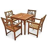 IND-70067-LOSE5Q Gartenmöbel Set Lotus, Garten Garnitur Sitzgruppe aus Holz - 5-teilig - Tisch quadratisch + 4 x Stuhl