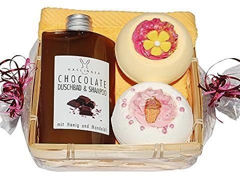 Schoko Badeset Geschenkset 5 tlg. Schokoladen Duschbad und Shampoo, 2 x Badebombe, Seiftuch gelb 30x30cm im Geschenkkorb