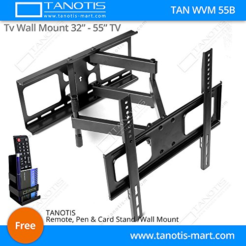 """Tanotis Imported Swivel Tilt Heavy Duty Dual Arm Full Motion TV Wall mount for LCD/LED Plasma TV's upto 32"""" to 55"""" inch for Flat Wall or Corner mounting with VESA upto 400 MM x 400 MM TAN WVM 55B + Free TANOTIS Remote Stand TAN ACC RMS"""