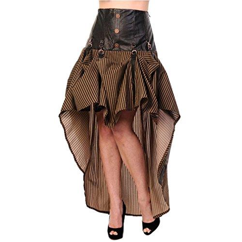 Banned-Gonna Vokuhila Steampunk-Victorian Stripes Skirt con fibbie marrone marrone S