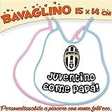 Bavaglino Bavetta Bambino/a personalizzato con nome foto Collezione Calcio JUVENTUS