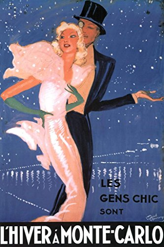 Poster Foundry ProFrames Jean Gabriel Domergue L Hiver A Monte Carlo Kunstdruck Antik 36x54 inches Poster - 54 In Jeans