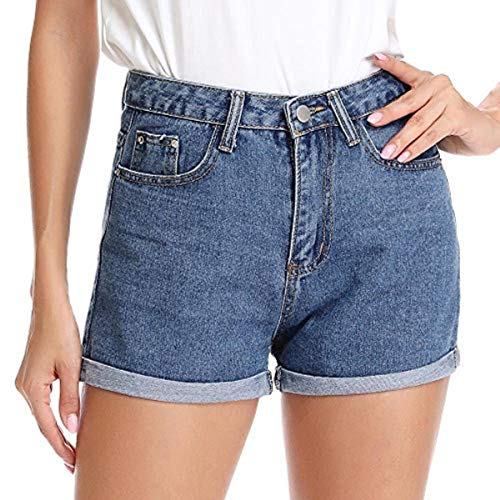 kefirlily Damen Jeans Hose Kurze Denim High Waist Basic Shorts gewasched Jeanshosen Bermuda-Shorts Mit Destroyed-Optik Aus Stretch-Material Skinny Fit