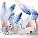 YWYWYWYW Moderne Einfache Art Und Weise 3D Benutzerdefinierte Tapeten Frische Wohnzimmer Schlafzimmer Desktops Wandbild Für Wände Hellblaue Feder Fototapete,220Cm(H)×310Cm(W)