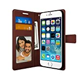 FOSO(™) Apple iPhone 5SE/5/5S/ High Quality PU Leather Magnetic Flip Cover Wallet Case (Brown)