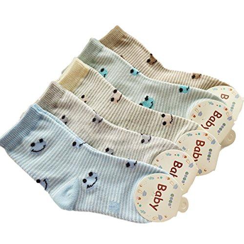 Kinder Baby Jungen Mädchen Socken KANGDAI 5 Paar Soft Air Venting Baumwolle Nahtlose Thin Ankle Socken Reiche Farben Liner Style Für das Alter 0 bis 10 Kinder (6-8, 1510) (Argyle Grau Rosa)