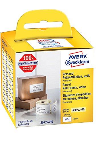 Label-drucker Wireless Dymo (Avery Zweckform AS0722430 Rollenetiketten (Etiketten für Dymo Drucker, 101 x 54 mm, Paketaufkleber) 220 Stück weiß)