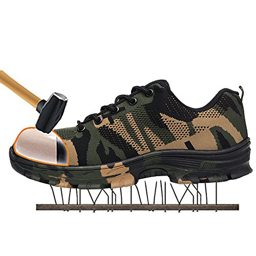 SITAILE Uomo Scarpe da Lavoro Industria e Edilizia Sneaker Calzature da Escursionismo,Verde,EU 43