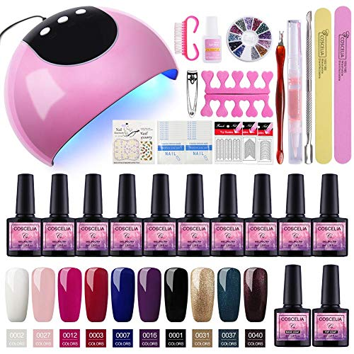 Saint-Acior Kit Uñas Gel 10PCS Esmalte Semipermanente
