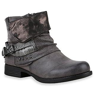 Damen Stiefeletten Biker Boots Schnallen Nieten Knöchelhohe Stiefel Leder-Optik Schuhe 120530 Dunkelgrau 38 Flandell