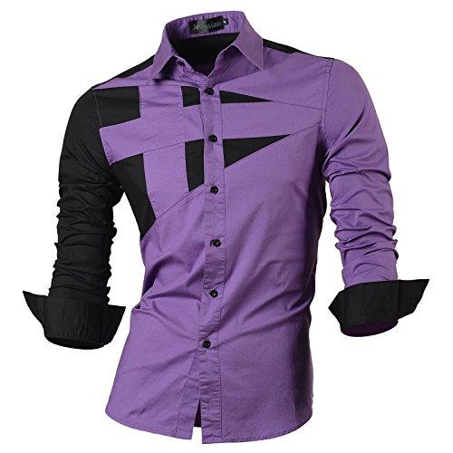 Jeansian uomo camicie maniche lunghe moda men shirts slim fit casual long sleves fashion 8397 purple m