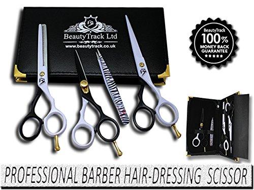 BeautyTrack – Rechtshänder Geschenkset Friseur & Haar verdünnungsschere Friseurschere, Schnurrbart und Bartschere + passende Spitzpinzette – Scherenetui, komplettes Friseur