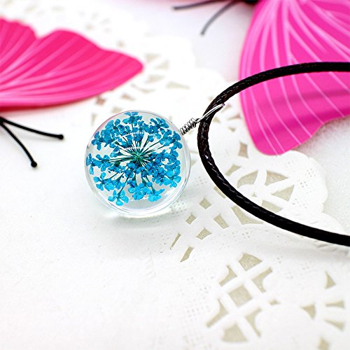 blueflower-collier-a-fleur-bleue-boule-en-verre-chaine-noire-incluse