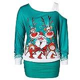 Luckycat Frauen undicht Schulter Weihnachten Print, figurbetontes Kleider Damen Partykleid Partykleider Cocktailkleid Blusenkleid Kleider