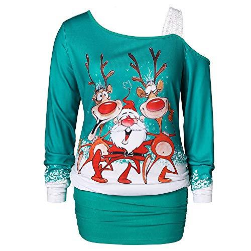 Weihnachten Kleid,Marlene Frauen-undicht-Schulter-Weihnachten-Print-figurbetontes-Kleid -