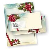 TATMOTIVE 03-0098-0090-00251 Briefpapier Weihnachten Set ROTE SCHLEIFE (250 Sets mit Fenster) DIN A4 297 x 210mm 90 g/qm, Weihnachtsbriefpapier mit Umschläge