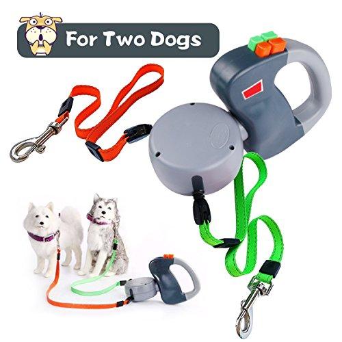 SHENGMI Hundeleine Versenkbar, Erweiterbar Doppelte Hundeleine Keine Verwicklung Automatische Doppelleine Hundeleine Leine 10 Fuß Jogging bis zu 50 Lbs pro Hund (Grau2) (Grau2) (Hundeleine Retractable Grün)