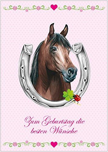 Zum Geburtstag die besten Wünsche Für alle Reiter und Pferde Freunde Geburtstagskarte in Rosa für EIN Mädchen mit Einem Pferd, Hufeisen, Kleeblatt, Glückskäfer und Blümchen (Mit Umschlag) (1)