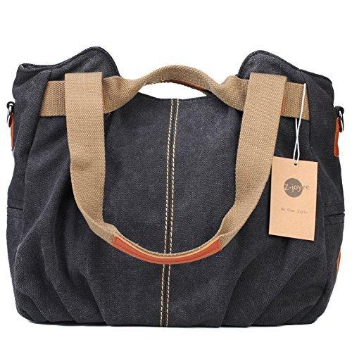 Z-joyee Damen-Handtasche/Handtasche aus Segeltuch mit Tragegriff und Schulterriemen, Schwarz (schwarz), Medium (Hobo Medium Black Handtaschen)
